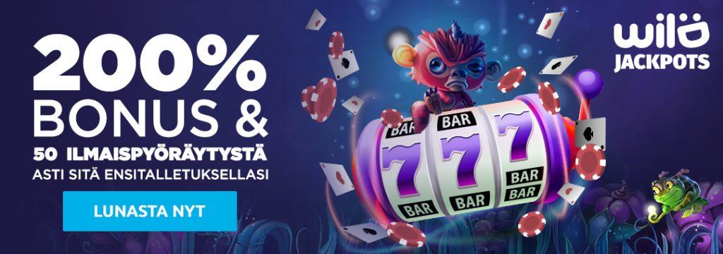 WildJackpots - 200% bonuksen jopa 50 euro asti ja 30 ilmaiskierrosta