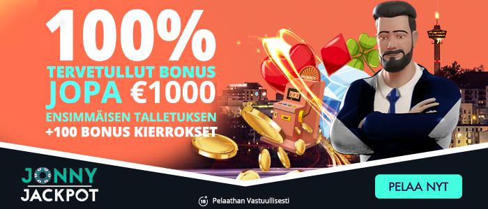 Jonny Jackpot - 100% tervetuliaisbonus jopa 1.000 € sekä 100 ilmaiskierrosta