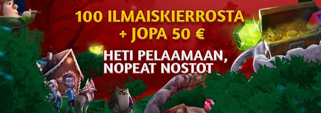 Slotsons - 100 ilmaiskierrokseen ja jopa 50 € bonukseen