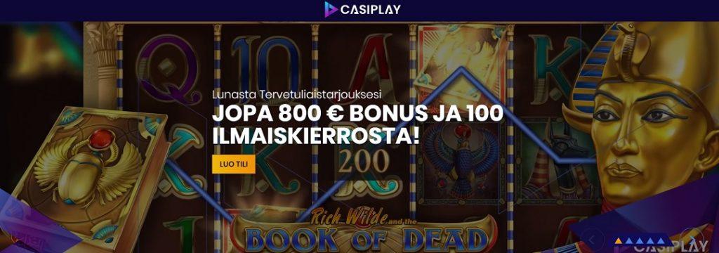 Casiplay Casino - 100 ilmaiskierrosta ja 800€ bonus