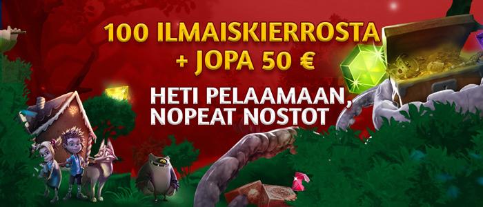 Slotsons - Tervetuliaisbonus 100 ilmaiskierrokseen ja jopa 50 € aista