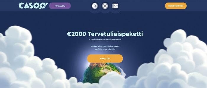 Casoo - 2.000 € Tervetuliaispaketti ja 200 ilmaiskierrosta