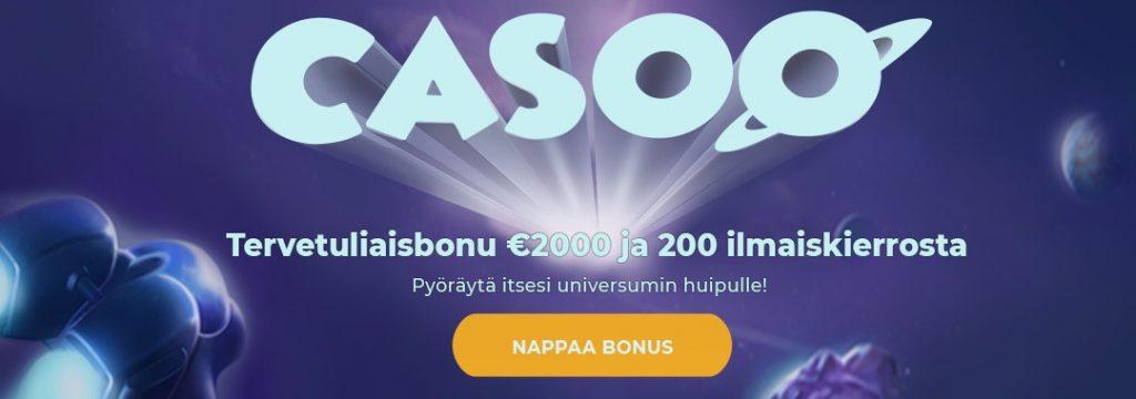 Casoo - 2.000 € ja 200 ilmaiskierrosta