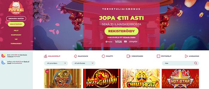 Maneki Casino - 33 ILMAISKIERROSTA + €111 TERVETULIAISBONUS
