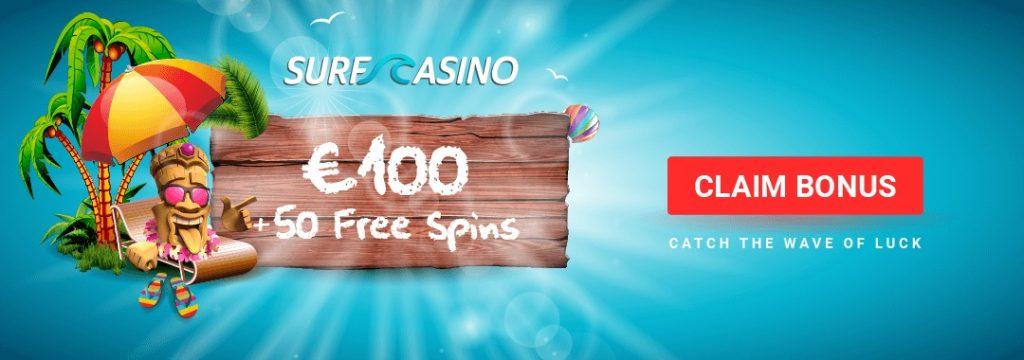 Surf Casino - 100% bonus 100 euroon asti