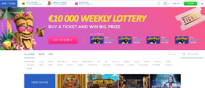 Surf Casino - 100% bonus 100 euroon asti tervetuliaistarjous