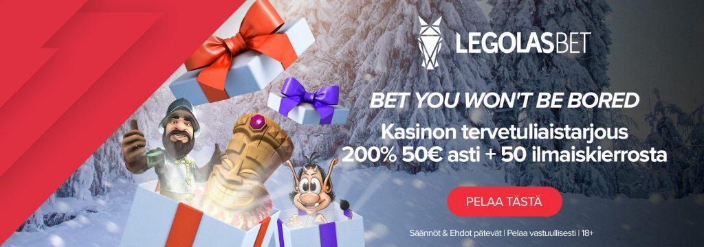 Legolasbet - Tervetuliaistarjous 200% 50€ asti + 50 ilmaiskierrosta