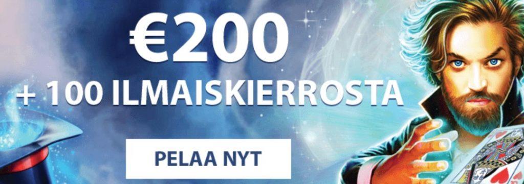 MrFavorit Kasino - 100 ilmaiskierrosta + 200 euroa bonus