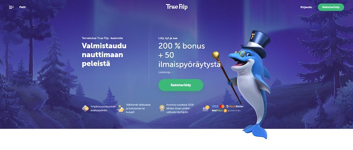 True Flip Casino - 200 % bonus + 50 ilmaiskierrosta