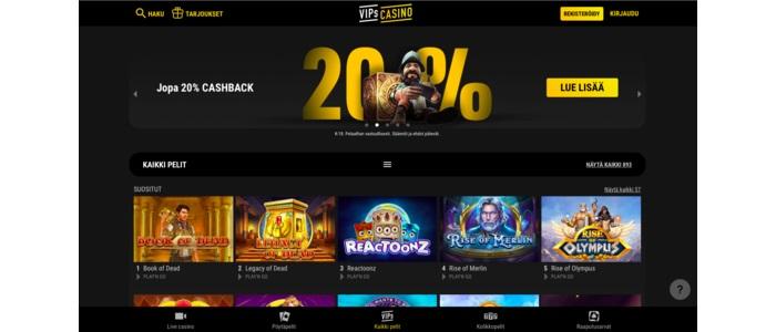 VIPs Casino - 200 euroon bonus ja 500 ilmaiskierrosta
